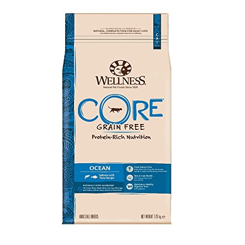 Wellness CORE Ocean Getreidefreies Katzenfutter Trocken, Hoher Fleischanteil, Lachs und Thunfisch, 1,75 kg