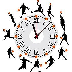 DIY Reloj de Pared 3D - Baloncesto silueta personalidad reloj palo salón / dormitorio / pared pegatina pintor casa decoración pared reloj pegatina 001 30*90cm