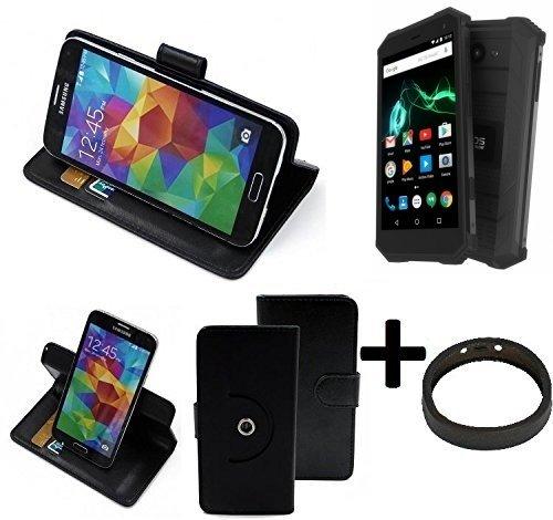 K-S-Trade® Case Schutz Hülle Für -Archos Saphir 50X- + Bumper Handyhülle Flipcase Smartphone Cover Handy Schutz Tasche Walletcase Schwarz (1x)