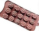 Form2Go Silikon Pralinenförmchen - Silikonförmchen/Schokoförmchen für Süßigkeiten, Schoko-Pralinen, Gummibärchen, EIS in Blumen-/Rosen-Form