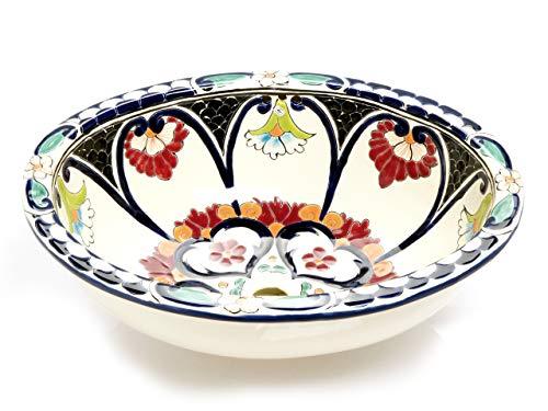 Orquidea - Ovales großes Einbauwaschbecken | Mexikanisches Ovales Waschbecken | Oval Einbauwaschbecken mit Rand | Keramik Talavera Einbau/Unterbau Waschbecken aus Mexiko