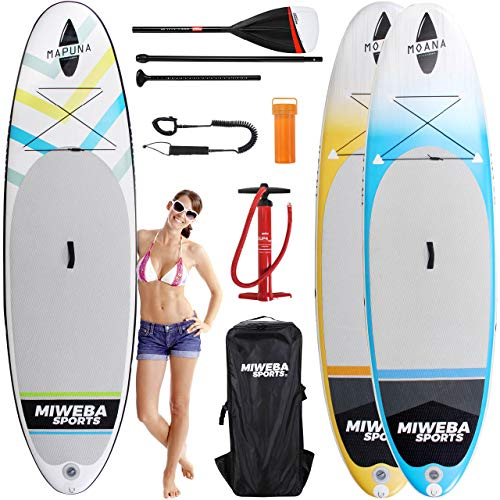 "Miweba Sports Stand Up Paddling Board aufblasbar - Double Layer PVC - 180 kg Tragkraft - 3 Finnen - Doppelhub Pumpe - 325x85x15 cm (Moana Cool Blue, 10\'8"" / 325 cm)"