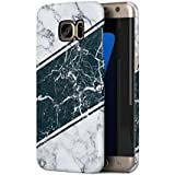 White Marble With Black Marble Stripes Samsung Galaxy S7 EDGE Snap-On Hard Plastic Protective Shell Case Cover Coque Housse Etui