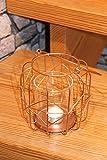 Dekorativer Geometrischer Kerzen und Teelicht - Halter aus Kupfer - farbenen Metall Bereits Inklusive LED Teelicht - Höhe je 25 cm (B)