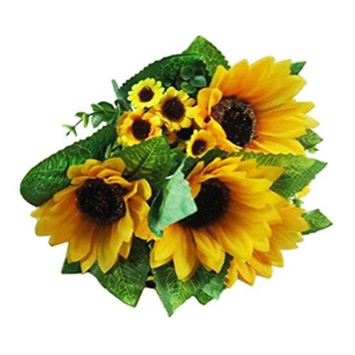 beiguoxia 7Köpfe Fake Sonnenblume Künstliche Blume Bouquet Home Hochzeit Decor