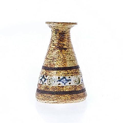 Kerzenhalter oder kleine Vase Deko Handbemalt Handarbeit, Keramik blau Triangle Design 13cm (7,9cm)