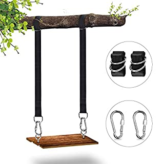 Magicfun Swing Straps, Tree Swing Hanging Kit 2PCS 6FT Long Adjustable Tree Swing Rope Strap With Two Heavy Duty Carabiners Holds 2500Lbs For Outside Tree Swings Hammocks