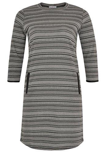 Yoek Damen Übergrößen Kleid mit Druck Schwarz Weiß