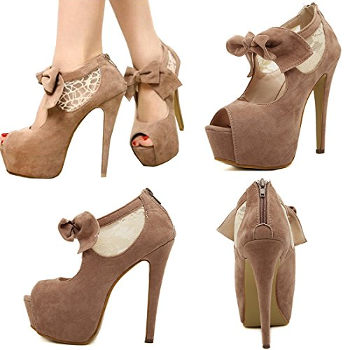 Oasap Damen Schleife Stiletto High Heels Pumps Camel