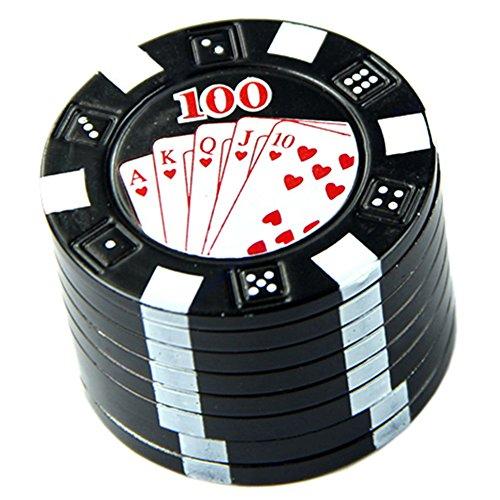 Sundatebe New Metall Drei Schichten Poker Style Herbal Herb Tobacco Grinder Hand Müller Schwarz,...