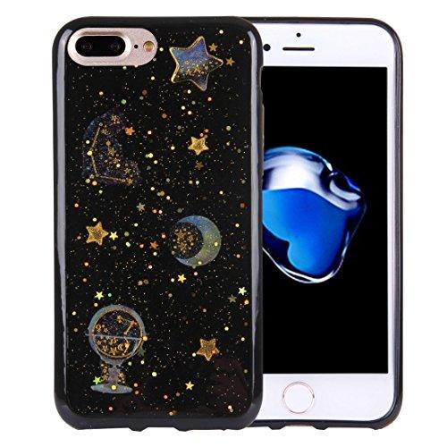 Für iPhone 7 Plus Flash Powder Twinkling NightSky Moon Pattern Soft TPU Schutzhülle DEXING ( SKU : Ip7p3112b ) Ip7p3112b