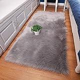 Finta pelliccia di agnello tappeto 50x 150cm imitazione lana soggiorno tappeti pelo lungo elastico morbida pelle di pecora tappetino scendiletto, Grau, 50 x 150 cm
