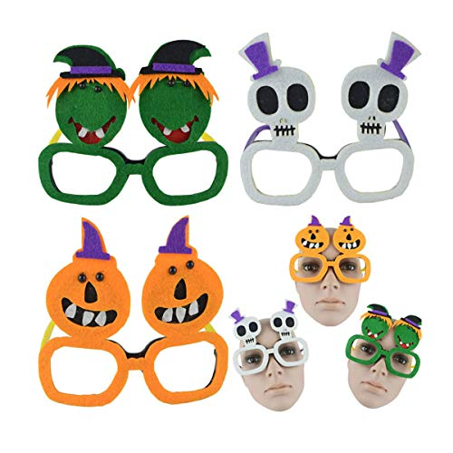 Amosfun Halloween Augenglas Lustige Brille Cartoon Vlies Brille Halloween Kostüm Maskerade Party Dekoration Cosplay Requisiten 3 STÜCKE