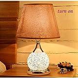 CLLCR Haushalts-Tischlampe, Nachttischlampe , Nachttischlampe Europäische Stil-Tischlampe Schlafzimmer Nachttischlampe Doppelschalter Dimmbare Glasfernbedienung Kleine Lampe Schreibtischlampe , Augen