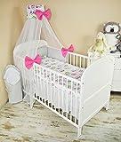 Amilian® Baby Bettwäsche 5tlg Bettset mit Nestchen Kinderbettwäsche Himmel 100x135cm Eule weiß +Steifenmuster Chiffonhimmel