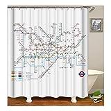 KnSam Duschvorhang Anti-Schimmel Wasserdicht Vorhänge an Badewanne Bad Vorhang für Badezimmer Fahrplan U-Bahn 100% PEVA inkl. 12 Duschvorhangringen 120 x 180 cm