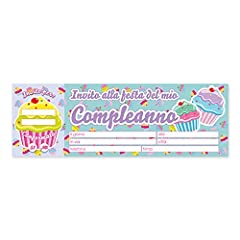 Idea Regalo - Big Party- Blocchetto 20 Biglietti-Inviti per Festa-Soggetto: Cupcake-Party, Compleanno, Multicolore, 62022