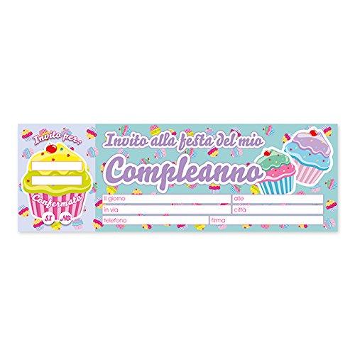comprare on line Blocchetto 20 Biglietti - Inviti Per Festa - Soggetto: Cupcake - party, compleanno prezzo