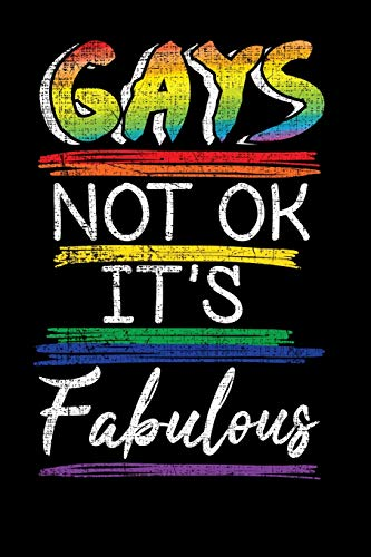 Gays Not Ok It's Fabulous: Cute Grunge Distressed Gay Pride LGBTQ Rainbow Flag Journal Composition Notebook 6 x 9 110 pages blank lined diary Back to School - Glitter Print Top