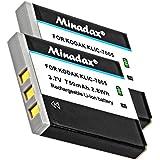 2x Minadax® Batterie de qualité avec véritable 750mAh pour KODAK EasyShare C763, comme Klic 7005–Système de batterie intelligent avec puce