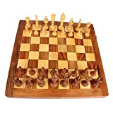 Rajasthani fort Style Crafted Mohre with Exclusive Antique Pure kiker or boxwood Wooden Chess Board Set