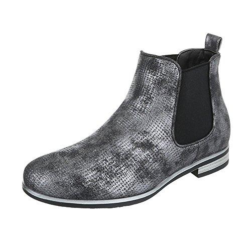 Kostüm Snake Women's - Ital-Design Chelsea Boots Damen-Schuhe Chelsea Boots Blockabsatz Blockabsatz Stiefeletten Schwarz Silber, Gr 37, H717-