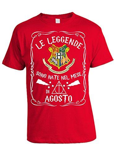 Tshirt compleanno - Le leggende sono nate nel mese di Agosto - Hogwarts - Harry Potter - idea regalo - eventi - in cotone Rosso