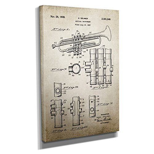 Vintage Trumpet - Kunstdruck auf Leinwand (40x60 cm) zum Verschönern Ihrer Wohnung. Verschiedene Formate auf Echtholzrahmen. Höchste Qualität.