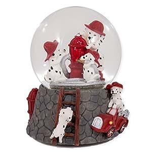 Chiots dalmatien avec bonnet pompier rouge Verre Boule à neige musicale déclenche des chansons fumée projection dans les yeux