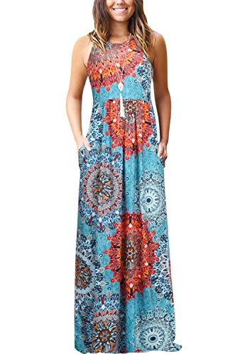 Bequemer Laden Damen Sommer Casual Blumen Ärmellos Lose Plain Lange Maxikleider mit Taschen Blau XL -
