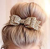 Aukmla Hair Barrettes Clips Bridal Big Head Bow Clips Hair Accessories for Women and Girls (Gold)