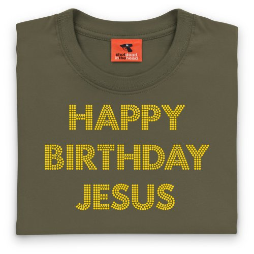 Happy Birthday Jesus Text T-Shirt, Damen Olivgrn