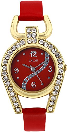 Dice Analogue Red Dial Women's Watch -17-Supg-M018-5254