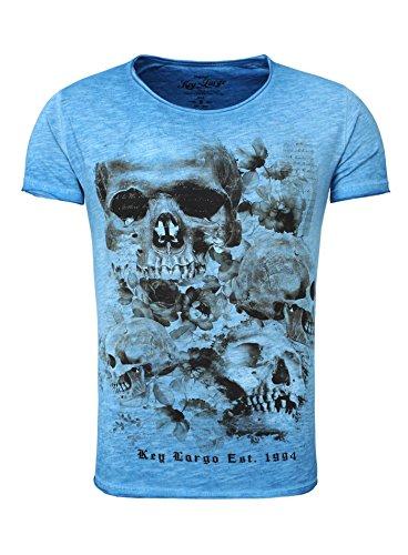 Key Largo Herren T-Shirt PRIME Totenkopf Rosen Vintage Look Sommershirt blau XXL (Blaue Vintage-t-shirt)