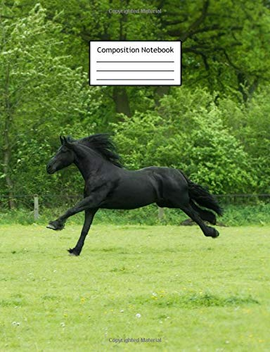 Composition Notebook: Galloping Black Horse   Page Size is 7.44