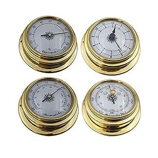 Juego de estación meteorológica – Kit de higrómetro de termómetro de reloj de barómetro de precisión portátil mini montado en la pared de 4 piezas para aplicaciones marinas, interiores y exteriores