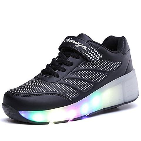 Aimee Kinder Junge Mädchen Led Schuhe Sneaker Mit Rollen 7 Farbe Farbwechsel Wheels Skate Schuhe(43EU --- Schuhe Innenlänge (Schwarz 18 Wheels)