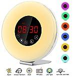 Tatuer Wake up Licht Lichtwecker Wecker Sonnenaufgang Simulation Tagelichtwecker mit Intelligente Schlummerfunktion, FM Radio, Touch Control, 7 Farbige LED und USB Ladegerät (Weiß30)