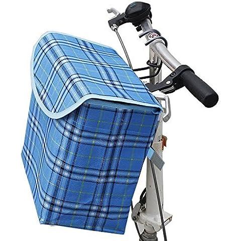 shayson plegable desmontable portátil Canva delantera cesta con marco de aleación de aluminio desmontable para bicicleta de manillar bicicleta gancho perfecto para las niñas y portador del animal doméstico marco de aleación de aluminio, azul