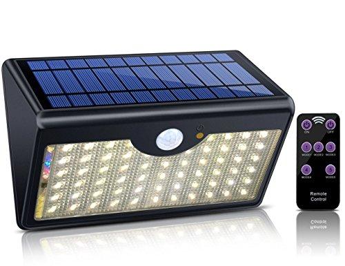 Lampe Solaire avec Télécommande ECHTPower 60 LED 1300LM 5 Modes Lampe Solaire Exterieure Mural Sans Fil Détecteur de Mouvement et Waterproof IP65 Idéal pour Patio,Terrasse,Jardin (Lumière Chaude)