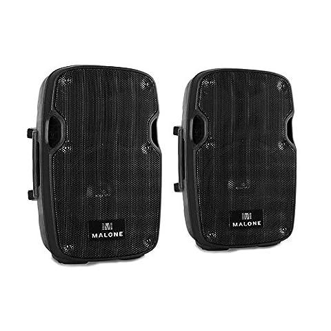 Paar Malone PW-2908A aktives 300 Watt RMS PA-Lautsprecher Paar (pro Box mit 20cm (8 Zoll) Tieftöner, 2x 150W Leistung, t XLR- und Klinken-Mikrofon-Eingänge) (Pro Pa Lautsprecher)