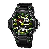 YZCX Orologio da polso da uomo militare sport orologi LED digitale e analogico multifunzione 50M Impermeabile Bracciale Nero+Verde