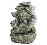 Charles Bentley Garden Large Stone Effect Outdoor Water Feature Fountain With White Led Lights