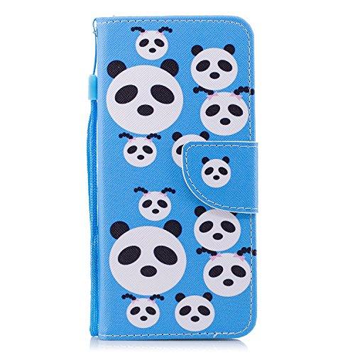 Cozy Hut Wiko View XL Hülle, Premium PU Leder Flip Tasche mit Integrierten Kartensteckplätzen & Ständer,Magnetverschluß Wallet Case für Wiko View XL - Panda-Rätsel