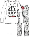 "Schlafanzug Damen langarm Pyjama Disney Peanuts Snoopy Baumwolle ""Sleep all Day"" (L)"