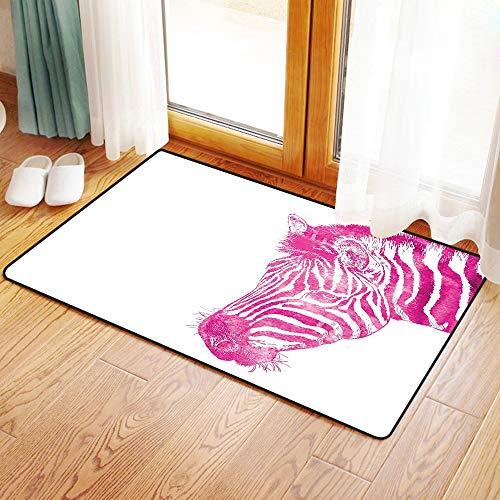 Yaoni Rutschfester Badvorleger, Rosa Zebra, Leiter der Zebra lebendige Porträt Aquarell trüben Aquarelle Aquarell Print,Mikrofaser Duschvorleger Teppich für Badezimmer Küche Wohnzimmer 50x80 cm (Zebra-print-teppich Rosa)