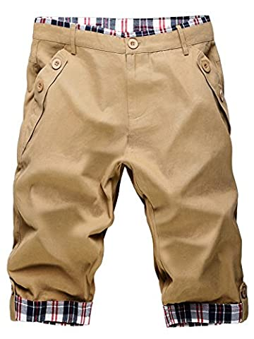 KAIUSI Men's Classic Plaid Splicing Casual Shorts Trousers Khaki Size 32