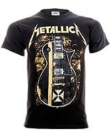 Official T Shirt METALLICA Black HETFIELD Iron Cross Guitar All Sizes