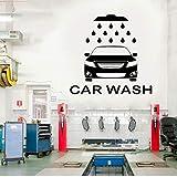 Station de lavage de voiture sticker mural logo atelier de voiture logo voiture service vinyle autocollants accueil intérieur imperméable à l'eau 43x42cm...