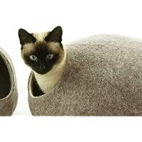Cama de gata, casa, cueva. Hecho a mano. Lana de oveja natural y ecológico. Color Arena Marrón. Talla L (grande) (cat house)
